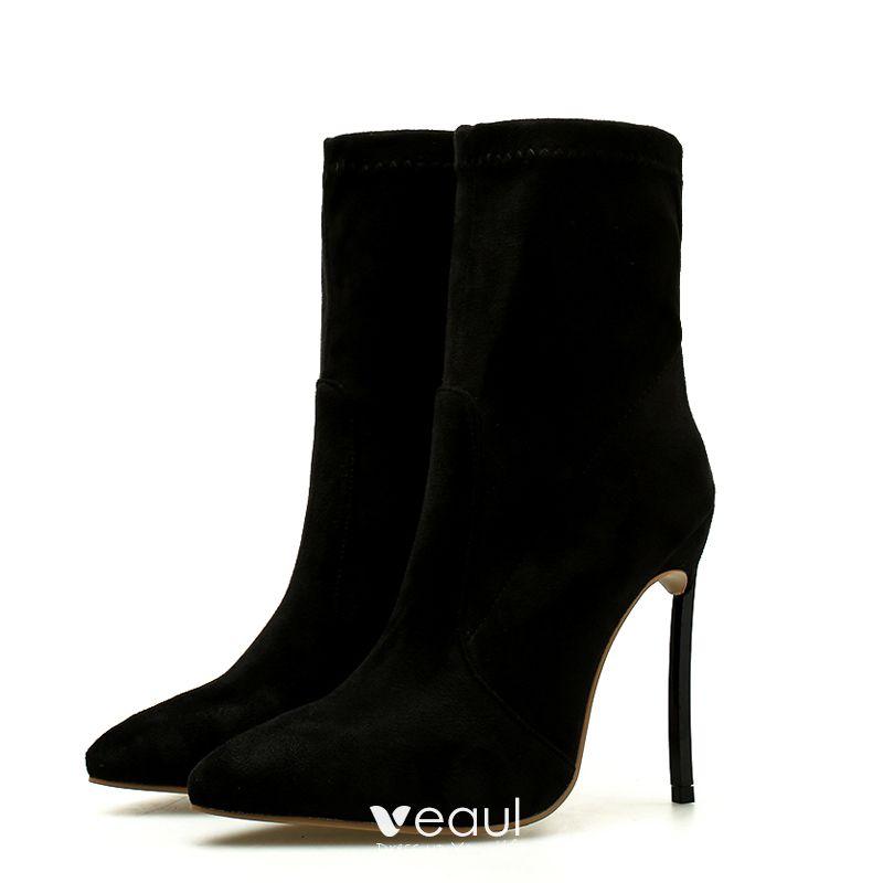 Betaalbare Zwarte Toevallig Winter Dames Laarzen 2020 Suede