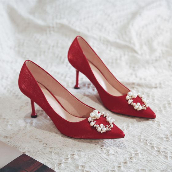 Chinese style Red Wedding Shoes 2020 Pearl 8 cm Stiletto Heels Pointed Toe Wedding Pumps