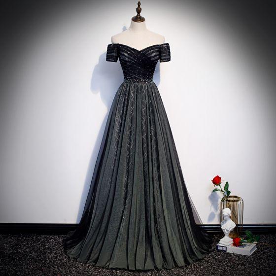 Fashion Black Evening Dresses  2020 A-Line / Princess Off-The-Shoulder Short Sleeve Sequins Beading Sweep Train Ruffle Backless Formal Dresses