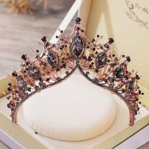 Vintage Barok Zwarte Tiara Bruids Haaraccessoires 2019 Metaal Kralen Rhinestone Huwelijk Accessoires