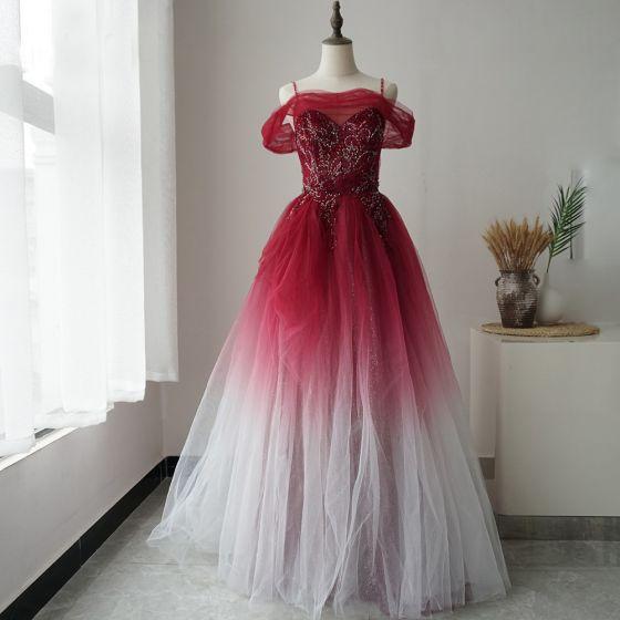 Wysokiej Klasy Czerwone Sukienki Na Bal 2020 Princessa Spaghetti Pasy Kótkie Rękawy Frezowanie Cekinami Tiulowe Długie Wzburzyć Bez Pleców Sukienki Wizytowe