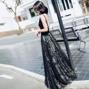 Chic / Beautiful Black Evening Dresses  2017 A-Line / Princess V-Neck Lace Printing Evening Party Party Dresses