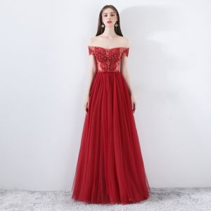 Modern / Fashion Burgundy Evening Dresses  2019 A-Line / Princess Off-The-Shoulder Short Sleeve Appliques Lace Beading Bow Sash Floor-Length / Long Ruffle Backless Formal Dresses