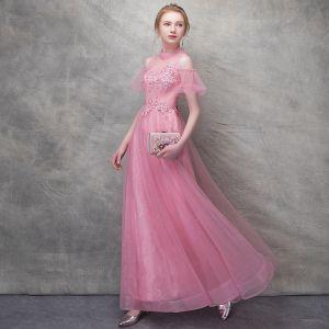 Chic / Belle Rose Bonbon Robe De Soirée 2017 Princesse En Dentelle Fleur Perle Fleurs Artificielles Paillettes Dos Nu Col Haut Manches Courtes Longueur Cheville Robe De Ceremonie