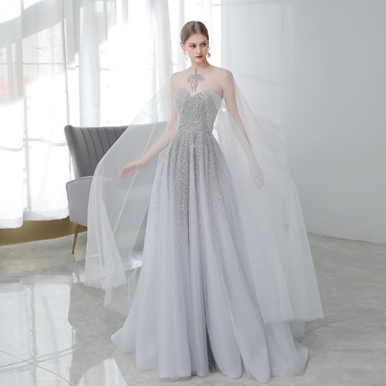 High-end Grey Prom Dresses With Shawl 2020 A-Line / Princess Sweetheart Sleeveless Beading Sequins Sweep Train Ruffle Backless Formal Dresses