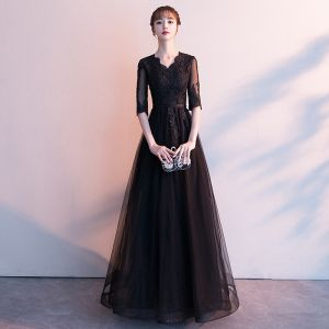 Affordable Black See-through Evening Dresses  2019 A-Line / Princess V-Neck 1/2 Sleeves Appliques Lace Sash Floor-Length / Long Ruffle Formal Dresses