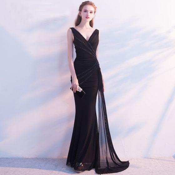 Schöne Schwarz Abendkleider 2017 Mermaid Perle Kristall Perlenstickerei V-Ausschnitt Rückenfreies Ärmellos Knöchellänge Festliche Kleider