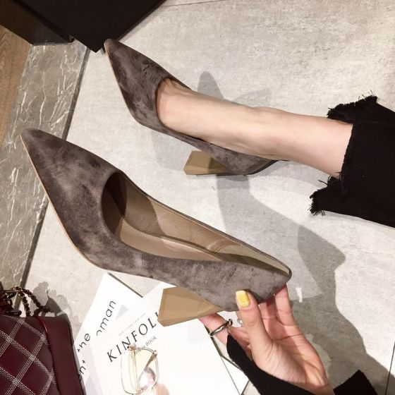 Modest / Simple Casual Suede Brown Pumps 2020 7 cm Thick Heels Pointed Toe Pumps