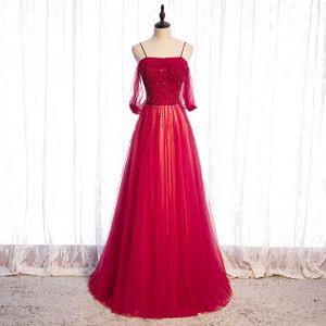 Chic / Belle Rouge Dansant Robe De Bal 2020 Princesse Bretelles Spaghetti Manches Courtes Perlage Longue Volants Dos Nu Robe De Ceremonie
