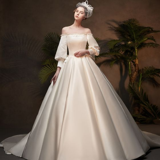 Vintage / Retro Ivory Satin Winter Wedding Dresses 2019 Princess Scoop Neck Puffy 3/4 Sleeve Backless Bow Chapel Train Ruffle