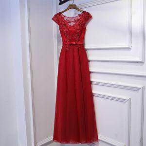 Schöne Rot Festliche Kleider Abendkleider 2017 Spitze Blumen Schleife Pailletten Rundhalsausschnitt Knöchellänge Kurze Ärmel A Linie
