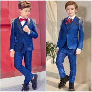 Unique Bleu Roi Glitter Polyester Costumes De Mariage pour garçons 2019 Rivet Gland