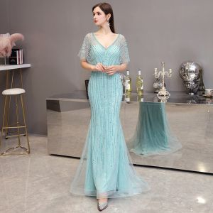 High-end Mint Green Evening Dresses  2020 Trumpet / Mermaid V-Neck 1/2 Sleeves Sash Rhinestone Beading Floor-Length / Long Ruffle Formal Dresses