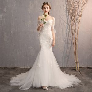Amazing / Unique White Trumpet / Mermaid Wedding Dresses 2019 Lace Tulle Appliques Backless Embroidered Strapless Court Train Church Wedding