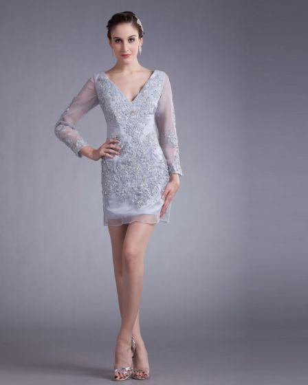 Organza Perles Applique V Cou Mini Robe De Fete