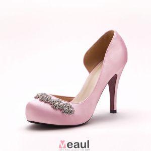 Roze Handgemaakte Ingelegde Diamanten Bruidsschoenen / Trouwschoenen / Damesschoenen