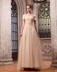 New Short Sleeve Chiffon Applique Bateau Floor Length Evening Dresses