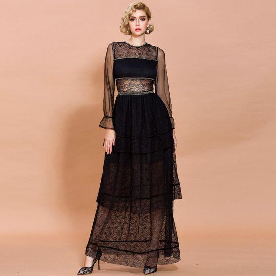 Eleganckie Czarne Koronkowe Lato Długie sukienki 2020 Otoczka / Nadające Wycięciem Długie Rękawy Kaskadowe Falbany Długie Przezroczyste Odzież damska