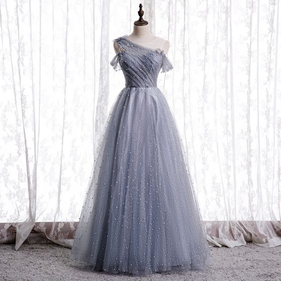 Best Grey Dancing Prom Dresses 2020 A-Line / Princess See-through Scoop Neck Short Sleeve Beading Pearl Glitter Tulle Floor-Length / Long Ruffle Backless Formal Dresses