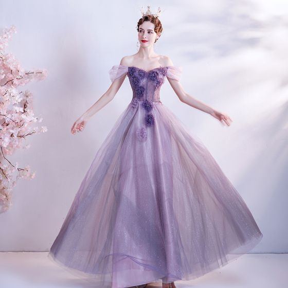 Flower Fairy Purple Dancing Prom Dresses 2020 A-Line / Princess Off-The-Shoulder Short Sleeve Appliques Flower Beading Glitter Tulle Floor-Length / Long Ruffle Backless Formal Dresses