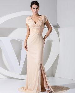 Mode Chiffon Charmeuse Satin Faltete Dünnes Gericht Zug V-ausschnitt Kurzarm Frauen Abendkleid