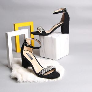Modern / Fashion 7 cm Black Womens Sandals 2019 Holiday Beach Leather Beading Summer Crystal Rhinestone High Heels Thick Heels Womens Shoes