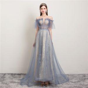 Moderne / Mode Bleu Ciel Robe De Soirée 2019 Princesse Volants Encolure Dégagée Étoile Paillettes Manches Courtes Dos Nu Train De Balayage Robe De Ceremonie