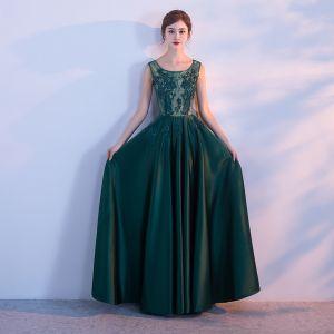 Chic / Belle Vert Foncé Robe De Soirée 2017 Princesse Tulle U-Cou Appliques Dos Nu Perlage Soirée Robe De Ceremonie