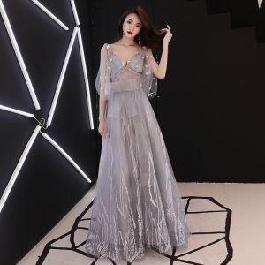 Elegante Grau Abendkleider 2019 A Linie V-Ausschnitt Schleife Spitze Blumen 1/2 Ärmel Rückenfreies Lange Festliche Kleider