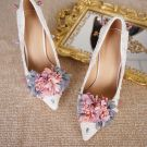 Elegant Ivory Wedding Shoes 2018 Wedding Handmade  Flower 11 cm Stiletto Heels Pointed Toe Pumps