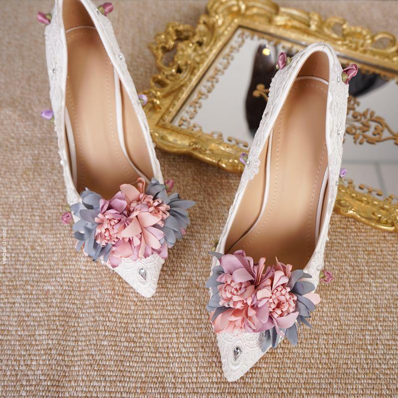 Elegant Ivory Wedding Shoes 2018 Wedding Handmade  Flower 11 cm Stiletto Heels Pointed Toe Pumps