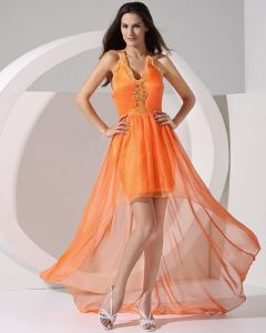 Stylish Solid Chiffon Silk Spaghetti Straps Sleeveless Backless Floor Length Asymmetrical Prom Dress