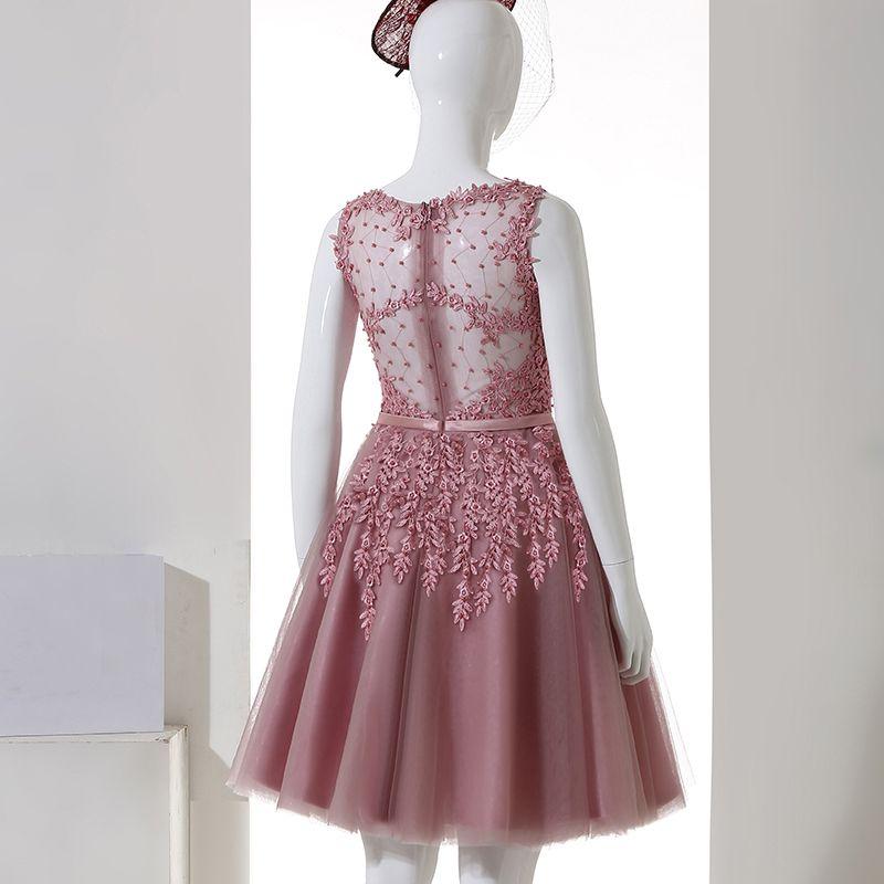 Chic / Belle Soirée Robe De Ceremonie 2017 Robe De Fete Dentelle Fleur Appliques Perle Encolure Dégagée Sans Manches Rose Bonbon Courte Princesse
