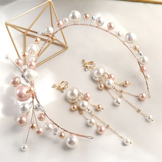 Chic / Beautiful Gold Hair Hoop Headpieces Earrings Bridal Jewelry 2020 Alloy Beading Pearl Wedding Accessories