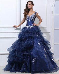 Ball Gown Organza Taffeta Ruffle Beading Applique V Neck Floor Length Quinceanera Prom Dresses