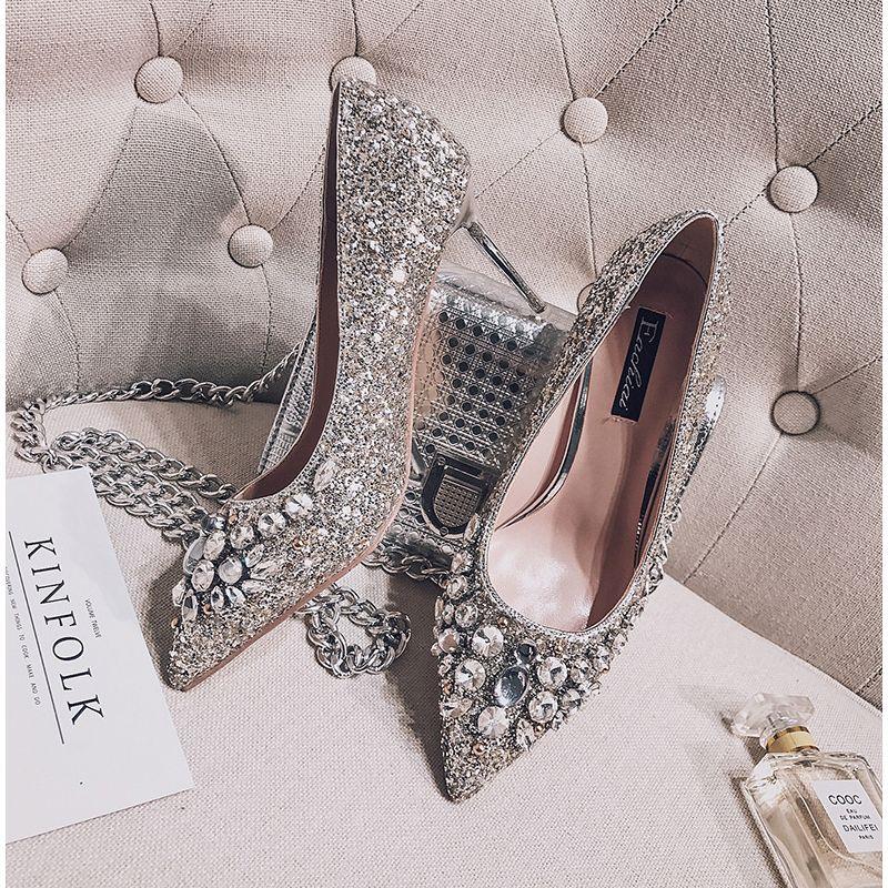 Glitter Kristal Bruidsschoenen Zilveren 2017 Glans Hoge Hakken Naaldhakken / Stiletto Spitse Neus 7 cm Pumps