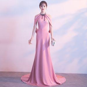 Sexy Rose Bonbon Robe De Soirée 2017 Trompette / Sirène Métal Titulaire Sans Manches Tribunal Train Dos Nu Robe De Ceremonie