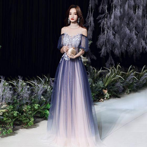 Sexy Bleu Marine Transparentes Dansant Robe De Bal 2021 Princesse Col Haut Manches Courtes Appliques En Dentelle Perlage Longue Volants Dos Nu Robe De Ceremonie