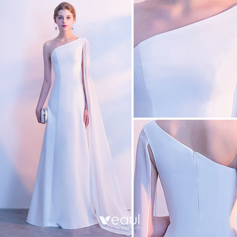 Modest / Simple Evening Dresses  2018 A-Line / Princess One-Shoulder Backless Sleeveless Floor-Length / Long Formal Dresses