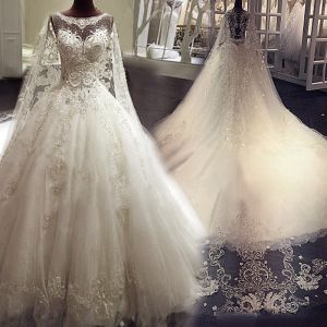 Luxury / Gorgeous Ivory See-through Wedding Dresses 2018 A-Line / Princess Scoop Neck Sleeveless Appliques Lace Beading Crystal Rhinestone Ruffle Royal Train