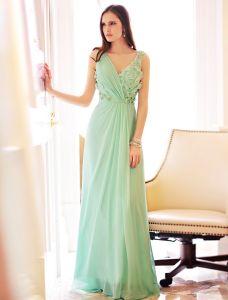Elegante Sommer abendkleider 2016 V-ausschnitt Rüsche Grün Chiffon Applique Blätter Rückenfrei Langes Kleid