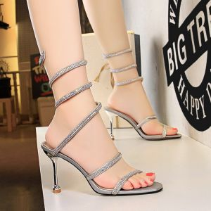 Charming Silver Evening Party Womens Shoes 2019 Rhinestone 8 cm Stiletto Heels Open / Peep Toe High Heels
