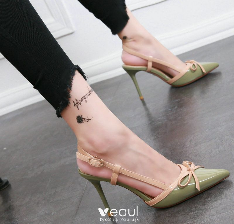 Chic / Beautiful Outdoor / Garden Pumps 2017 PU Bow High Heels Pointed Toe Pumps