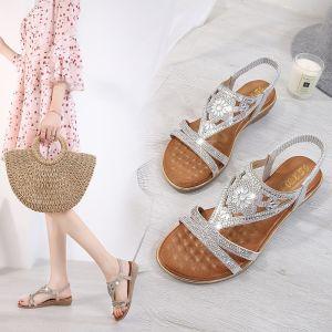 Fashion Summer Silver Street Wear Slipper & Flip flops 2020 Rhinestone Open / Peep Toe Womens Shoes