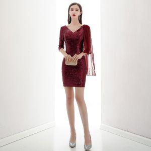 Brillante Borgoña Lentejuelas Vestidos de fiesta 2020 V-Cuello 1/2 Ærmer Cortos Sin Espalda Vestidos Formales