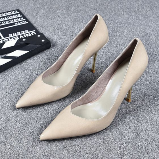 Classy Beige Evening Party Pumps 2019 Leather 9 cm Stiletto Heels Pointed Toe Pumps