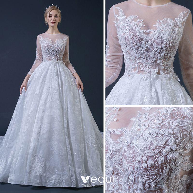 Wedding Dress White Glitter: Illusion White See-through Wedding Dresses 2018 Ball Gown