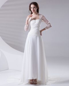 Square Pleated Beading Floor Length Chiffon Lace Woman Empire Wedding Dress