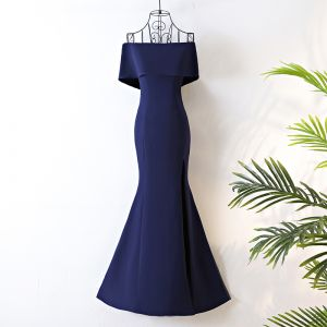 Chic / Beautiful Navy Blue Evening Dresses  2017 Trumpet / Mermaid Zipper Up Off-The-Shoulder Short Sleeve Polyester Floor-Length / Long