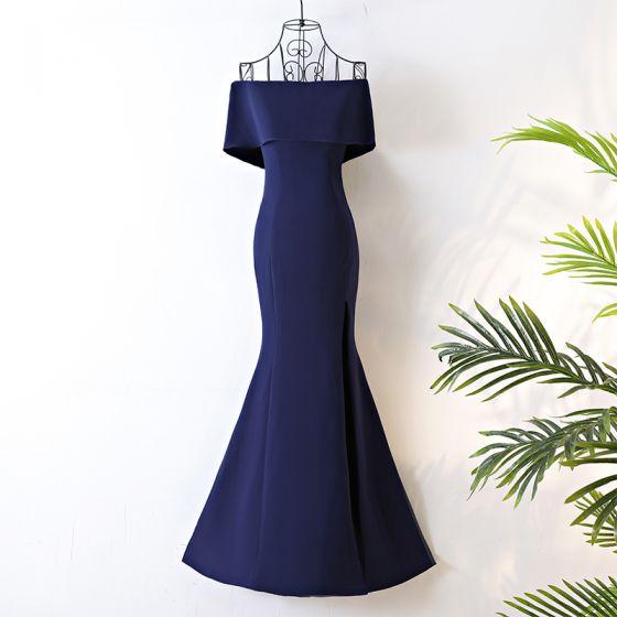 Chic / Beautiful Navy Blue Evening Dresses  2017 Trumpet / Mermaid Zipper Up Off-The-Shoulder Short Sleeve Polyester Floor-Length / Long